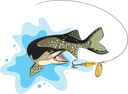 pike and lure fishing Иллюстрация