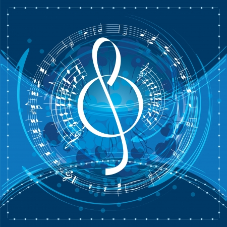 treble: music background with decorative treble clef, vector illustration Illustration