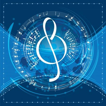 music background with decorative treble clef, vector illustration Illustration