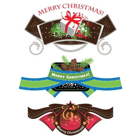 Christmas labels, set elements, illustration Vector