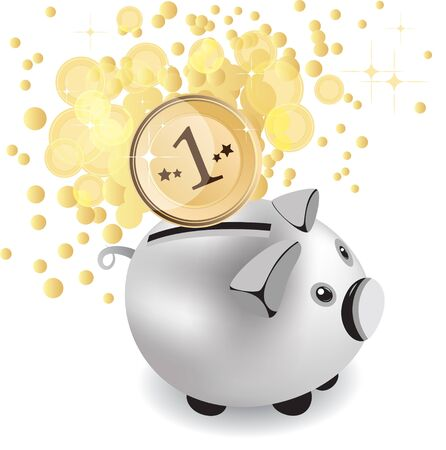 strew: piggy bank and money, vector illustration