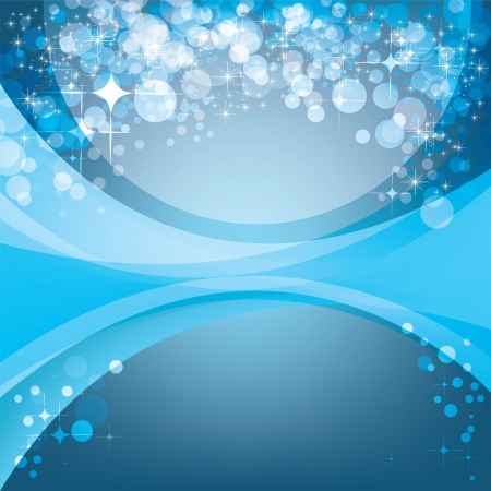 glimmer: Abstract blue background, holiday template with shining stars and copyspace