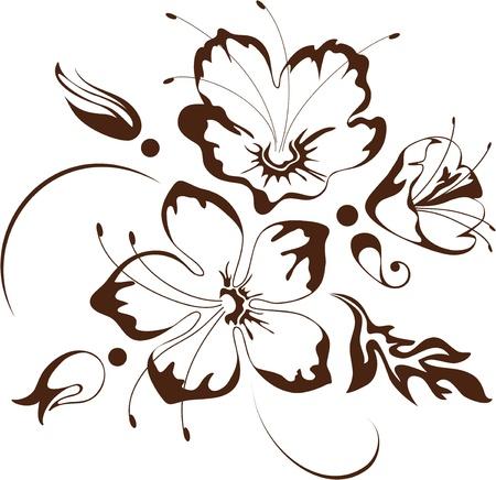 outline flower: Floral design, vector illustration