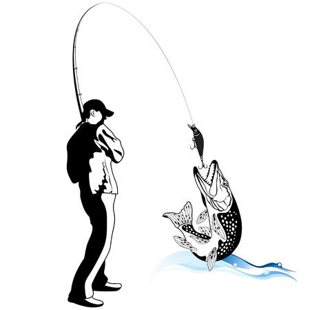 pescador: Pescador atrap� un lucio, ilustraci�n Vectores
