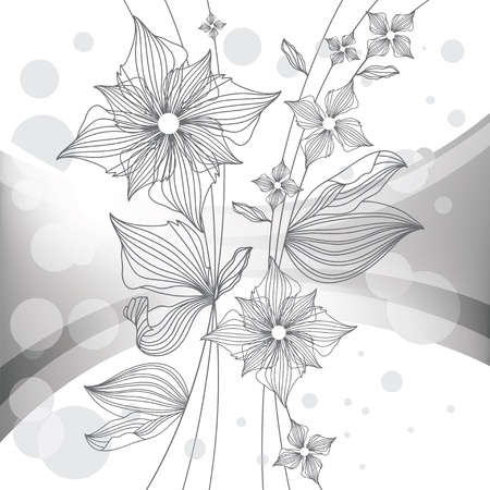 nosegay: floral background, monochrome vector illustration