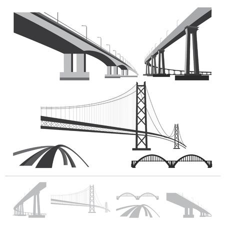 arte callejero: conjunto de puentes, colecci�n silueta aislado en el fondo blanco