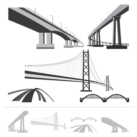 suspension bridge: set of bridges, silhouette collection isolated on white background Illustration