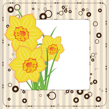 womanlike: bouquet of daffodils, greeting card, vector template