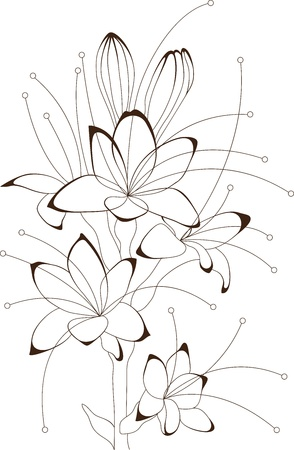 Vintage bouquet of flowers, floral design, vector illustration