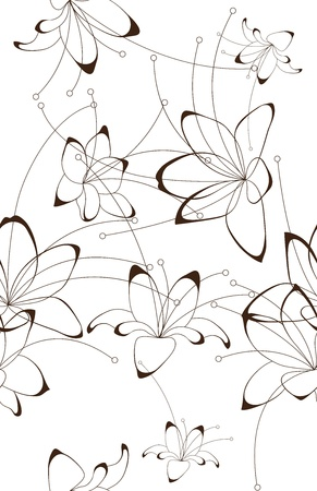black and white plant: Seamless background, floral design