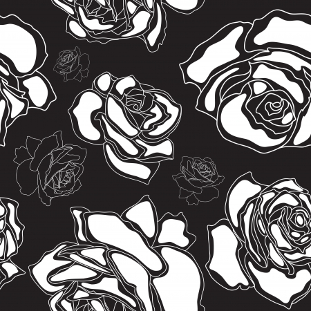 Seamless pattern, white roses on a black background Vector