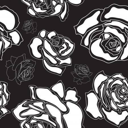 Seamless pattern, white roses on a black background Çizim