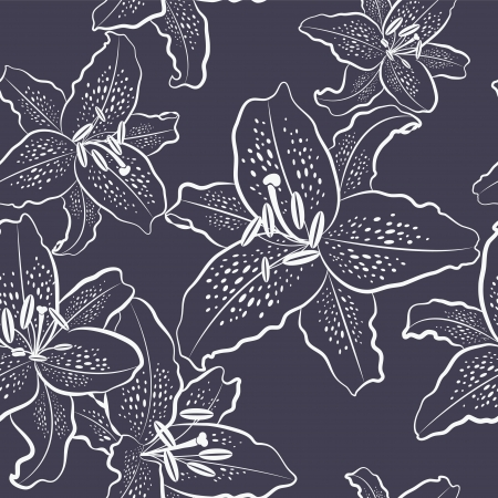 Seamless pattern, white lily on a black background, vector illustration Çizim