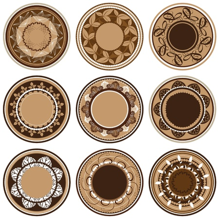 Plates with different vegetation patterns, circle ornament, illustration Vector