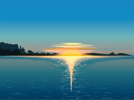 sun rising: Landscape, vector illustration  Illustration