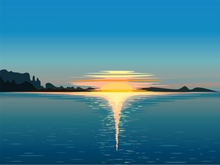 oceano: Paisaje, ilustración vectorial