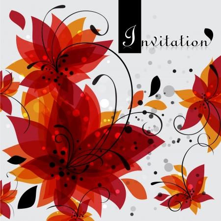 floral invitation card illustration Vector