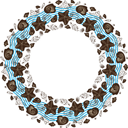 round ornament made of shells, frame made of shells, marine ornament Illustration