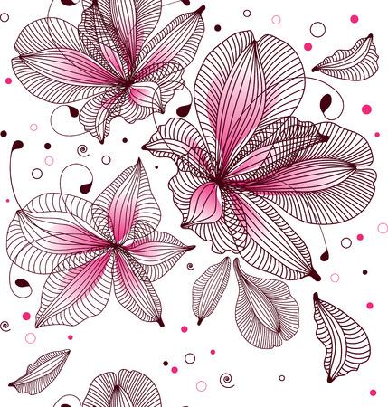 fuchsia flower: seamless floral background