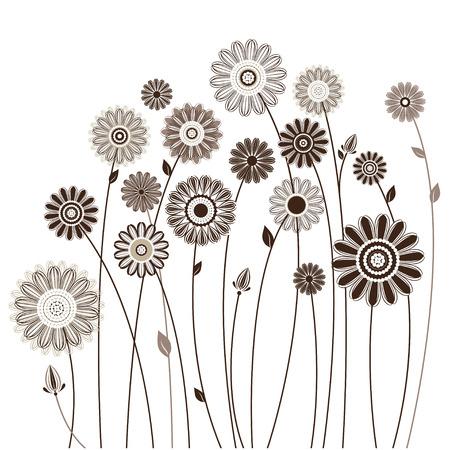 bloemen kaart, boeket van gestileerde bloemen