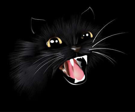 evil black cat, halloween background, vector illustration Stock Illustratie
