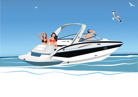 young women: Young women and men resting on yacht, group of friends, vector illustration