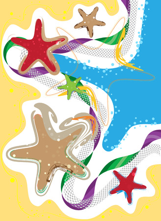 coastline: Coastline, Seaside and Starfish, colored stylized composition, design Elements
