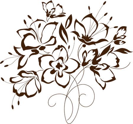 Disegno floreale, bouquet di fiori stilizzati, illustrazione vettoriale Archivio Fotografico - 44571858