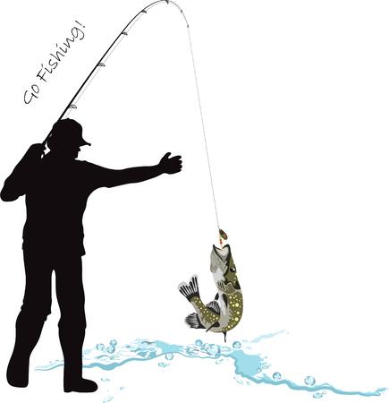 pescador: Pesca, pescador y el lucio, pescador atrapados una pica, caña de pescar y señuelo, ilustración vectorial