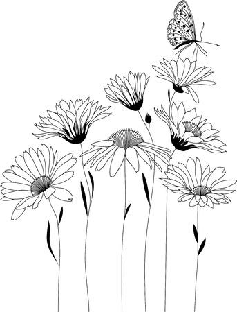 bloemdessin, boeket van gestileerde bloemen, vector illustratie