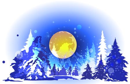huge christmas tree: Winter forest, big moon, high spruce, night Illustration