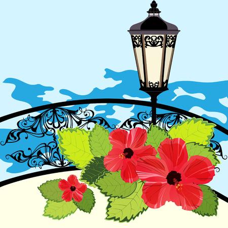 gates: Tropical coastline with lantern, fence and flowers, illustration