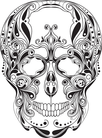 Human skull patterned, art, design, ornament,