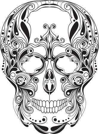 deaths: Human skull patterned, art, design, ornament,