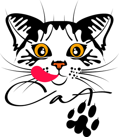 lick: cat portrait with paw, black contours on a white background Illustration