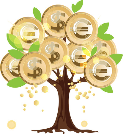 currency converter: Money tree, dollar and euro coins on the tree Illustration