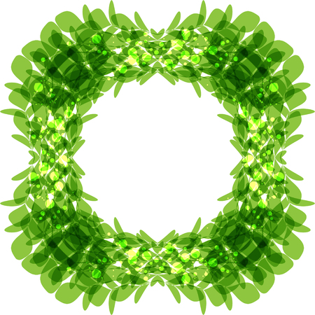 greenness: Green leaves frame, square shape, vector illustration Illustration