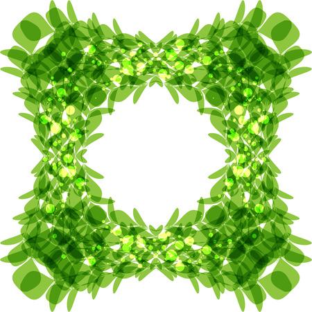 square shape: Green leaves frame, square shape, vector illustration Illustration