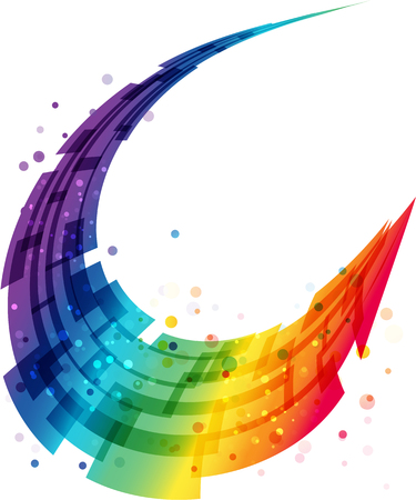 추상 모션 배경, 기하학적 다채로운 둥근 파