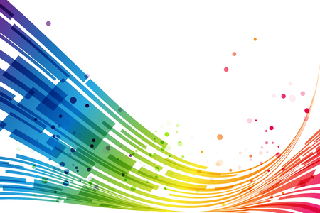 red banner: Abstract rainbow stripes on white background, rainbow design