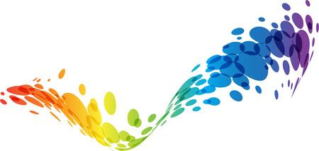 Abstract wave, i colori dell'arcobaleno, fondo tech