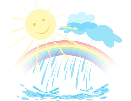 Landscape with rainbow in the sky, the sun is shining and it rains, weather design over white background illustration Illusztráció