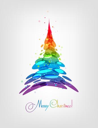 árbol de navidad, tarjeta multicolor de fondo, ilustración, abeto estilizado
