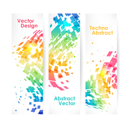 Abstract multicolored geometric background, set of banners Иллюстрация