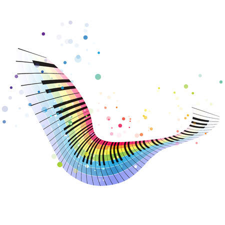 pianoforte: Rainbow piano, colorful music design on a white background, flying object