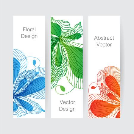 striped: Set of floral banners, flower design