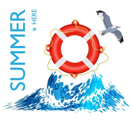 lifebuoy: Lifebuoy on the wave, poster background Illustration