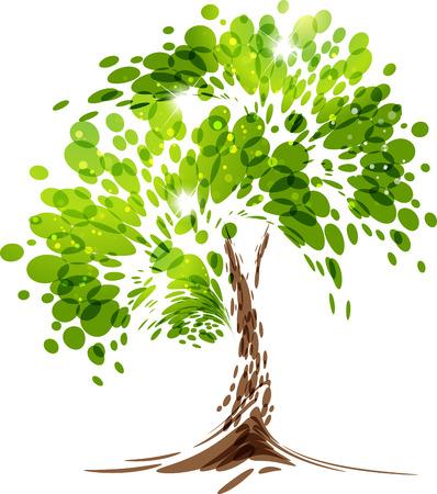 Árvore verde estilizado vector sobre fundo branco