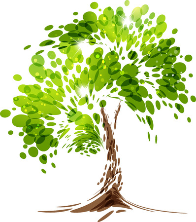 Green stylized vector tree on white background Çizim