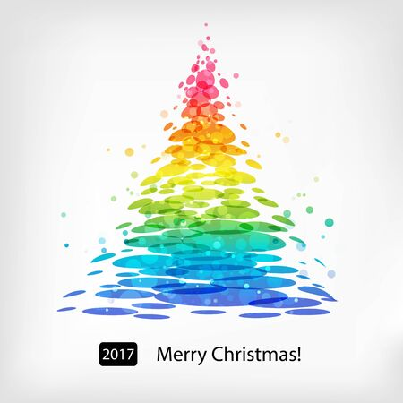 fir tree: Christmas tree, colored greeting card, stylized fir tree Illustration